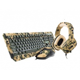 COMBO ARMY TECLADO + MOUSE + AURI. GAMER USB WARRIOR